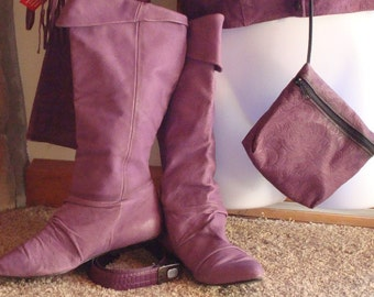 80s ViNTaGe  purple leather boots