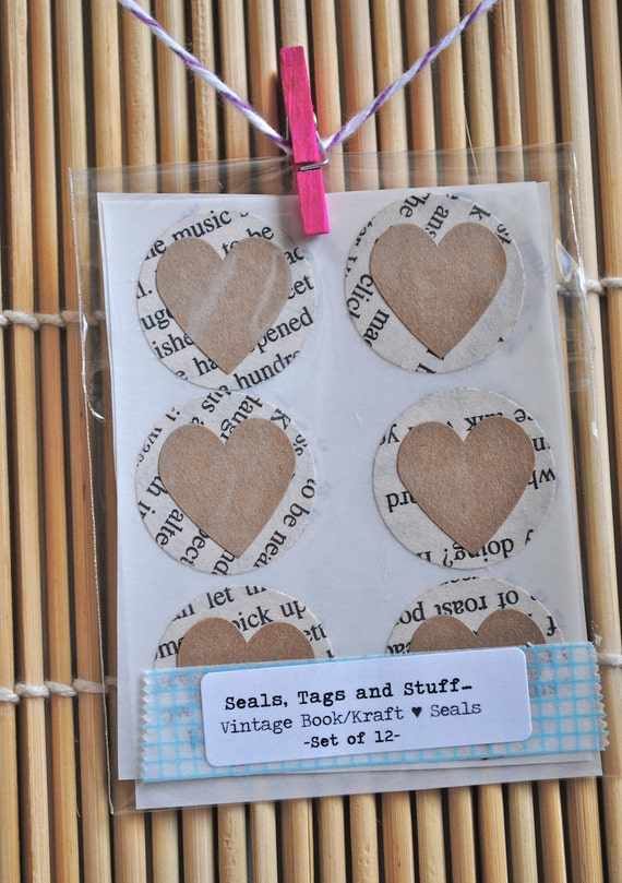 12 VINTAGE Book / KRAFT Heart Seals