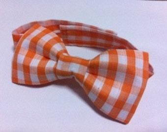 Orange-U-Plaid Bowtie for Boys