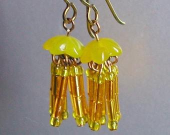 Micro Mini Jellyfish Dangle Earrings in Neon Yellow