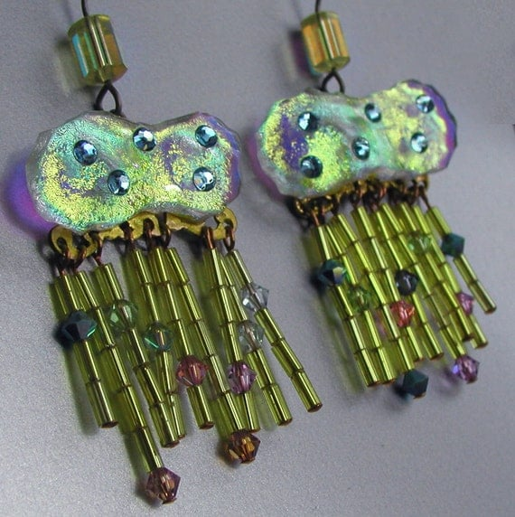 New Price Bold Rain Clouds Earrings Iridescent with Sparkle