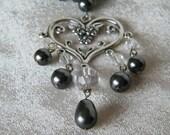 Swarovski Pearl and Crytsal Chandelier Bridal Necklace.