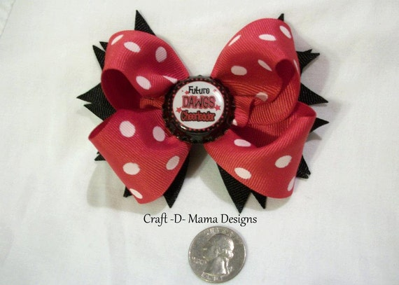 "UGA Bulldogs Red and Black Boutique Bow w/ ""Future Dawgs Cheerleader"" Bottlecap"