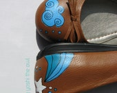 Reserved listing for Kai (oh happy day  - one of a kind hand-painted tan flats)