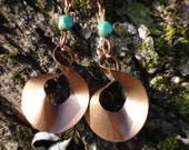 Copper Dangle Earrings and Turquoise Glass Beads