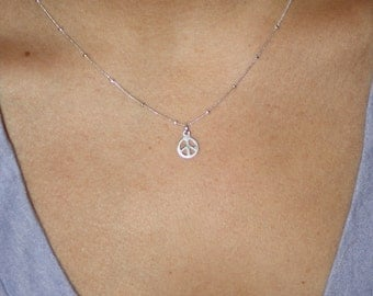 GIVE PEACE a CHANCE - sterling silver peace sign necklace