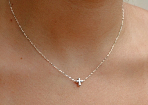 Sterling Silver Cross Tiny Cross Bead Necklace