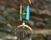 "SUMMERTIME FUN,Recycled Beach Glass Wind Chime ""One of a Kind"" , Sun Catcher, Windchimes, Sea Glass"
