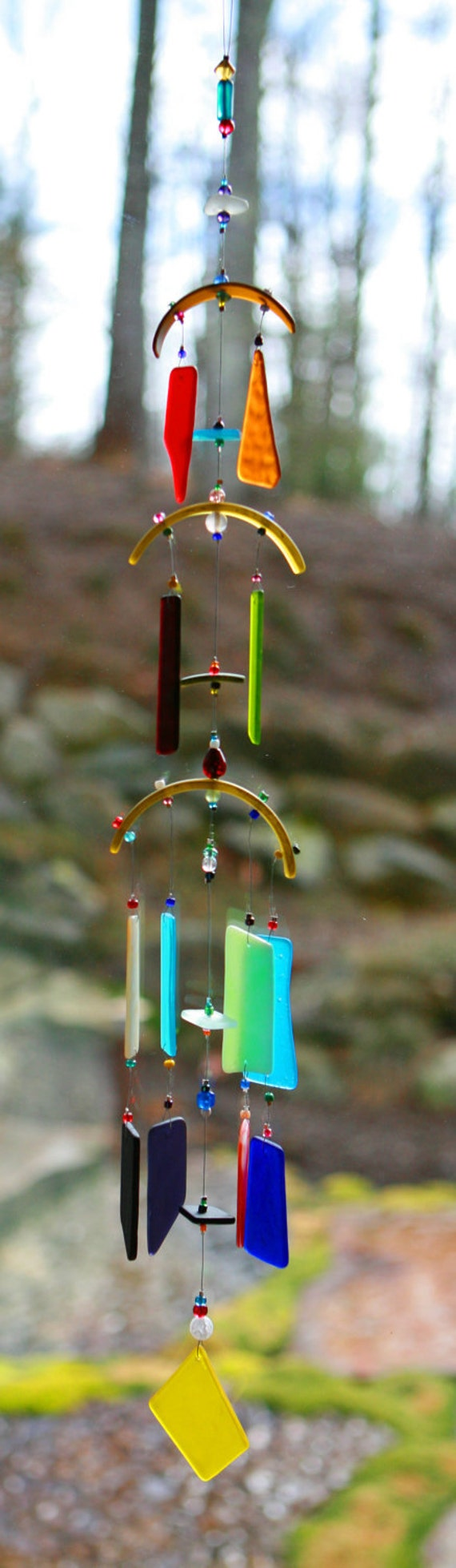 Recycled beach glass wind chime sun catcher stained glass for Wind chimes from recycled materials