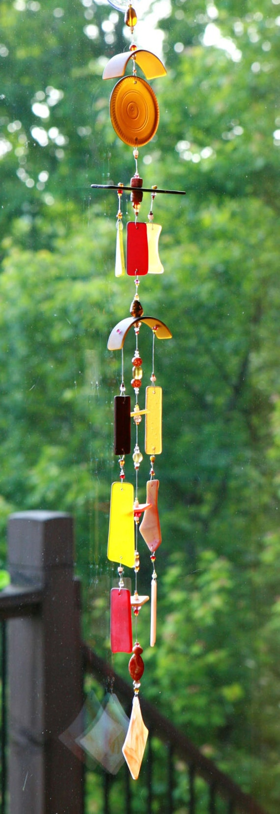 """FALL HARVEST Handmade Recycled Beach Glass Wind Chime """"One of a Kind"""" FREE Shipping"""