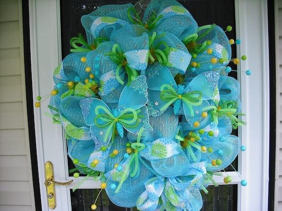 Sky Blue & Butterflies Deco Mesh Wreath
