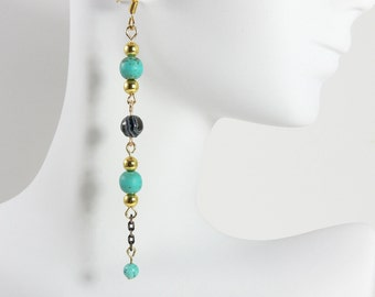 Turquoise and Onyx earrings, turquoise earrings, onyx earrings, long turquoise earrings with onyx, elongated earrings, and flat cable chain