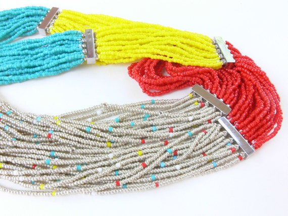 Handmade jewelry, Handcrafted colorful necklace, summer necklace, multi strand seed beads necklace, red, turquoise, yellow, white seed beads