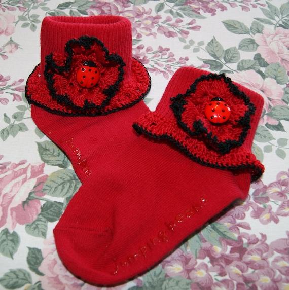 Little Girl's Red and Black Ladybug Crochet Edging for Socks