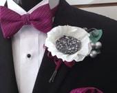 Wedding Boutonniere Crepe Paper Flower White Anemone Groomsmen Buttonhole