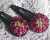 Two Hand Embroidered hair clips with merry pink flowers