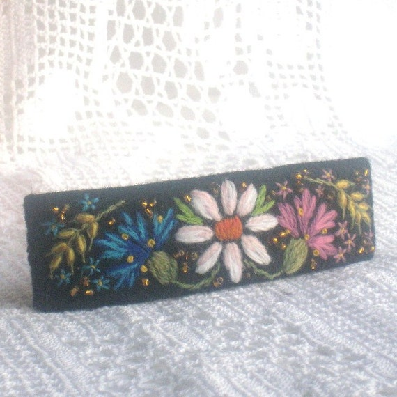 Hand Embroidered Barrette