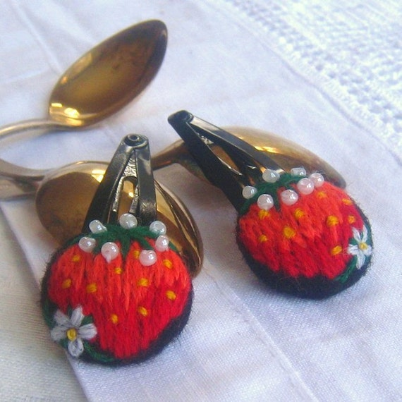 Two Hand Embroidered hair clips with yummy strawberryes