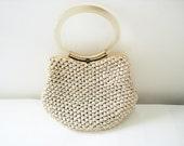 Vintage 50s MM Crochet Straw cream handbag by Morris Moskowitz
