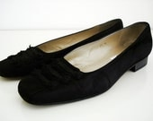 Vintage black shoes/ Black suede flats slip ons/ size 7 .5 M/ by Talbots/ Made in Spain