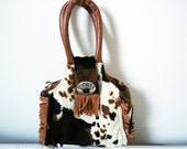 Vintage 80s animal print plush bag/ faux cowhide small bag/ brown and white soft plush handbag/ tassels