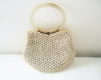Vintage 50s MM Crochet Straw cream handbag by Morris Moskowitz