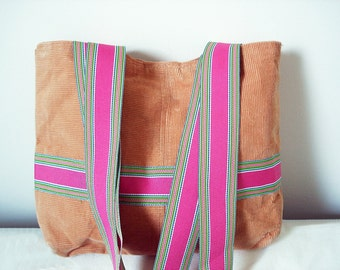 Vintage corduroy bag in rust orange/ brown / preppy /    pink, green, and orange stripe straps