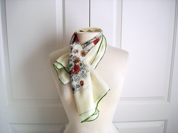 RESERVED for Paolo Vintage 40s floral cream scarf/ sheer chiffon silk/ Baar and Beards/ spring flowers in red, white, green and orange