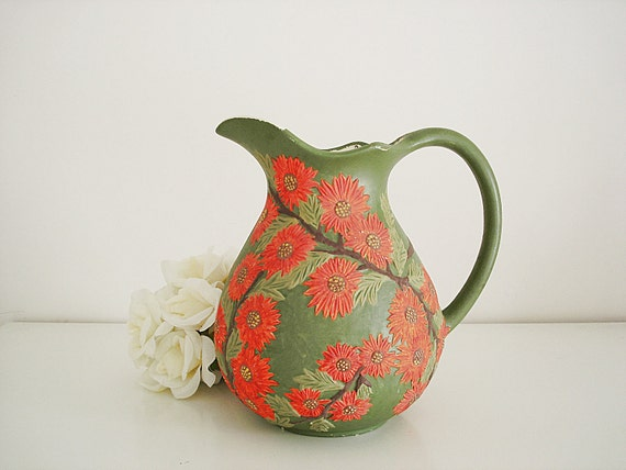 Vintage 1970s ceramic pitcher/ hand painted red sunflowers on green/ vintage vase/ raised texture/ spring for the home