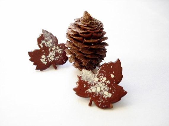 Vintage maple leaf copper earrings/ clip on earrings/ brown enamel white speckles