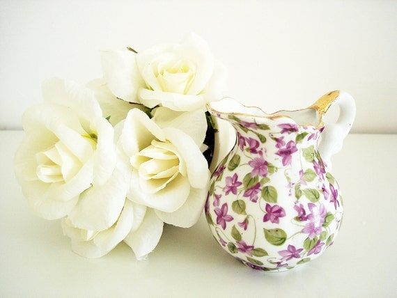 Vintage small floral porcelain pitcher/ Royal Chintz creamer/ purple tiny violets / spring kitchen home decor/ gold trim