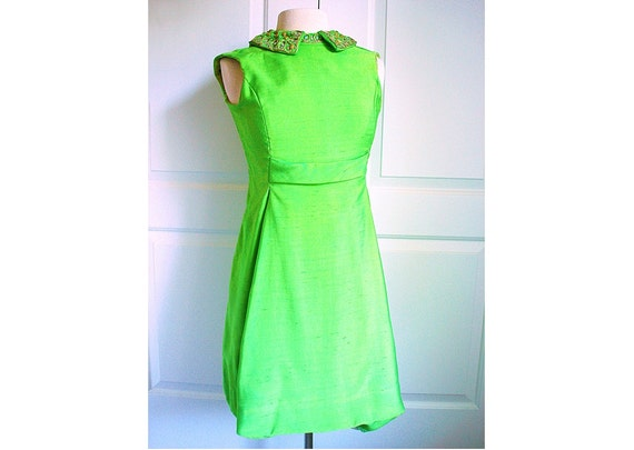 Vintage 60s cocktail dress in lime green/ bejeweled collar
