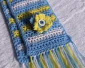 Little girl scarf in sky blue, yellow, and white