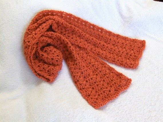 Orange crochet scarf neckwarmer scarflette