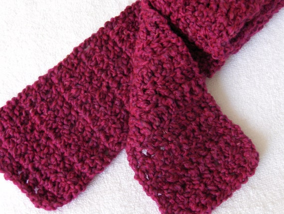 SALE Crochet Scarf in Homespun pink fuschia SALE was 20 dollars!