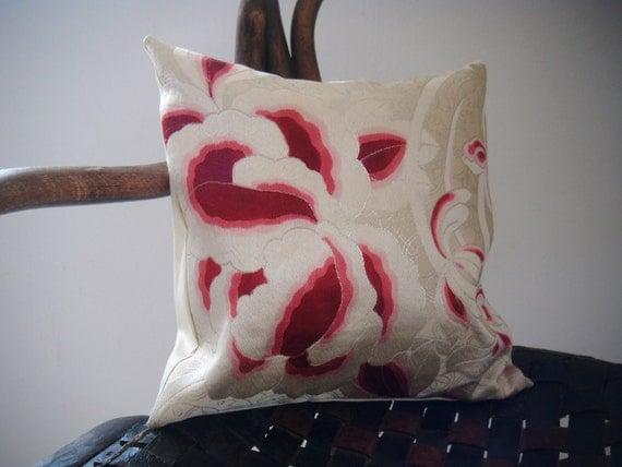 Vintage silk kimono/obi pillow/ cushion, burgundy peony design, asian, eclectic, handmade