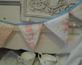 Handmade Floral & Stripes pink bunting