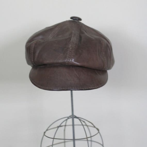 vintage newsboy hat brown leather