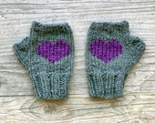 fingerless mittens with heart - grey and purple