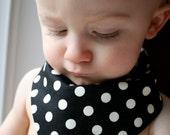 Bandana Bib, Black and White Polka Dot
