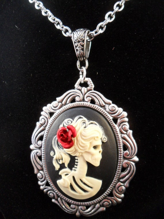 Skeleton Cameo With Red Flower in Her Hair on Silver Chain
