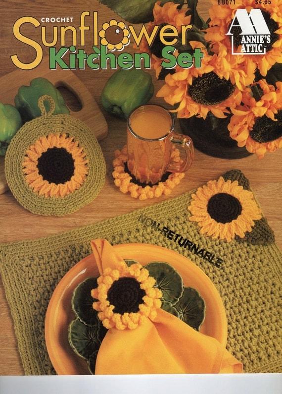 s attic crochet sunflower kitchen set