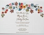 Fall Wedding Invitation Custom Handpainted