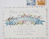 Custom Save the Date Postcard Soft Muted Florals