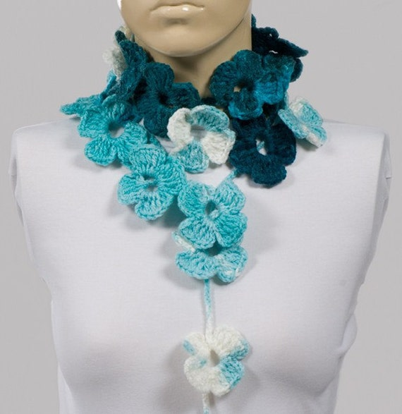 ON SALE. Holiday Scarf. Crochet SCarf. Valentine's Scarf. Crochet belt. White blue turquoise scarf. Hand made flower scarf. Blue Gift.