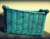 """Large Turquoise Basket/Box Infant Photo Prop 16""""long x 13""""wide x 9.5"""" tall"""