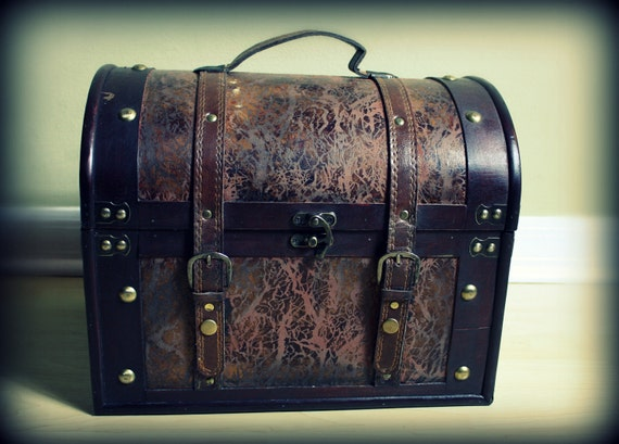 """Large Distressed Leather Treasure Trunk Baby Infant Photo Prop 15""""long x 10.5""""deep x 18"""" tall"""