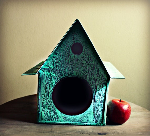 Large Turquoise Tin Bird House Home Decor