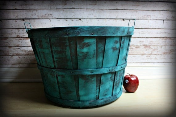 "Extra Large Turquoise Barrel-Apple Barrel-Infant Toddler Photography Prop 57"" aound x 18""wide opening x 12.5"" tall"