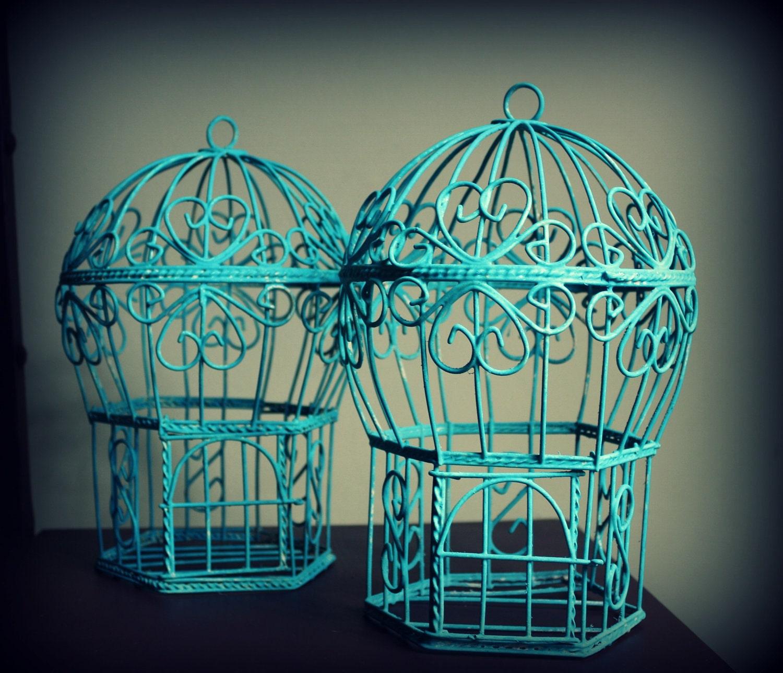 Vintage Turquoise Wood Bird Cage Set 11 tall x 24